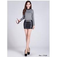 Chân váy da ngắn 3 khuy đẹp Hàn Quốc CV621