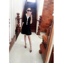 Set áo và chân váy xòe thun xốp màu đen viền trẵng, tay lỡ