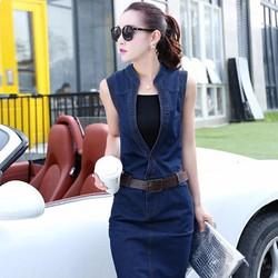 Set đầm jean body kèm áo cao cấp D392-190