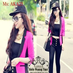 Áo khoác vest nữ phối viền đen sành điệu AKA25