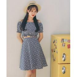 [HẾT HÀNG]  Đầm Xòe Rời Trễ Vai Korea