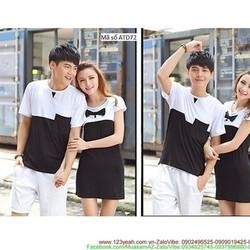 Set couple váy áo thun phối màu trắng đen cực sành điệu xATD72