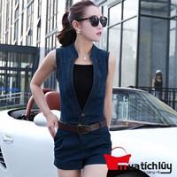 MTL - Set Jumsuit short jean kèm áo thun