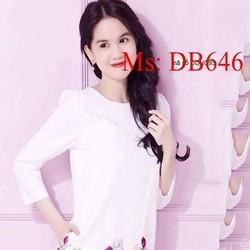 Đầm bầu dài tay suông họa tiết hoa hồng dễ thương DB646