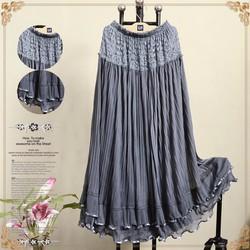 Váy nữ ren phối lưới dáng dài dập ly, phong cách cổ điển.