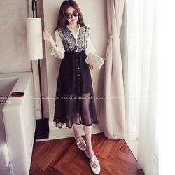 KP035 - Set chân váy maxi áo ren