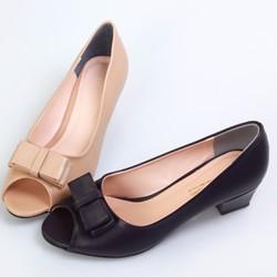 Giày cao gót nơ hở mũi gót vuông C0164