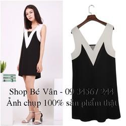 Đầm Suông Đen Viền Trắng - Hàng Quảng Châu