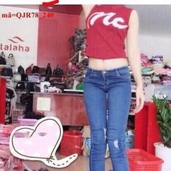 Quần jean nữ lưng cao 1 nút rách nhẹ 2 bên sành điệu qQJR78