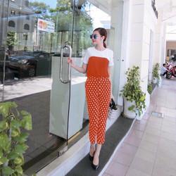 Set bộ quần dài chấm bi màu cam