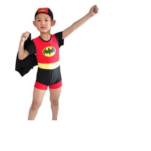 Bộ bơi liền thân  badman kem  mũ 1- 5 tuổi