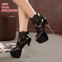 giày cao gót chất ren và da kết hợp cao 16 cm