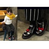 Giày trẻ em boot 2 dây kéo đính nơ