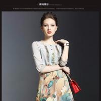 ĐẦM SUÔNG HỌA TIẾT HOA SEN VÀ CHIN HẠT ĐÍNH ĐÁ SANG TRỌNG MK9995
