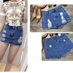 Quần Jeans Nữ Giả Váy Wash Rách