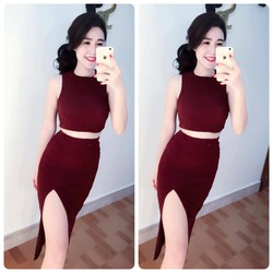 HÀNG LOẠI 1 : Set áo croptop cổ lọ + Chân váy body