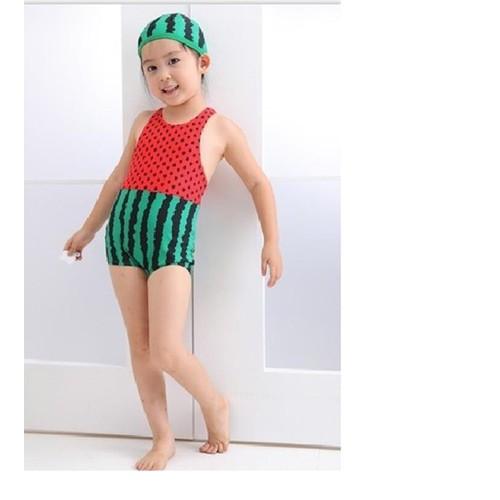 Bộ bơi lien  dua hau kèm mũ  bé gái 2-4tuoi