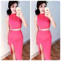 HÀNG LOẠI 1 :Set áo croptop cổ lọ + Chân váy body