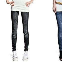 Quần legging dài giả Jeans, chất liệu cotton, thời trang Hàn Quốc.
