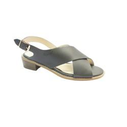 Giày Sandal 3F gót vuông quai chéo, màu xám