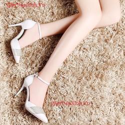 CHẤT LIỆU NGOẠI: Giày nữ đính hạt trang trí mẫu mới