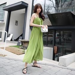 Đầm maxi cổ yếm hai dây SD597