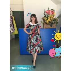 Đầm xòe tafta cao cấp cổ tiểu thư FREE SIZE