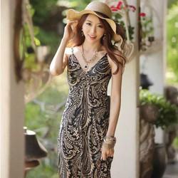 Đầm maxi melo họa tiết đen đẹp đi biển
