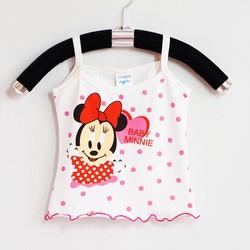 Áo thun 2 dây bé gái in Minnie chấm bi xinh xắn