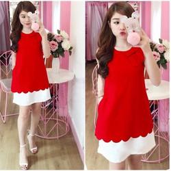 Đầm suông răng cưa màu đỏ H205