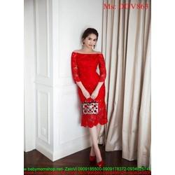 Đầm ôm dự tiệc bẹt vai dài tay ren nổi màu đỏ sang trọng DOV863