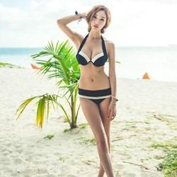 Bikini sọc tạo dáng ngực kèm áo choàng ngoài gợi cảm - B01