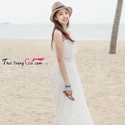 Đầm maxi ren trắng xinh đi biển mùa hè