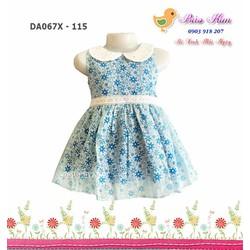Đầm cổ sen xinh xắn - hoa xanh