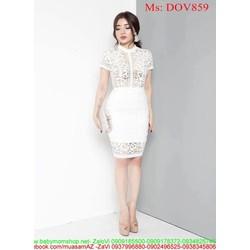 Đầm ôm dự tiệc màu trắng ren nổi sang trọng DOV859