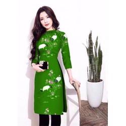 Áo dài nữ cách tân in 3D cực xinh mát mùa hè
