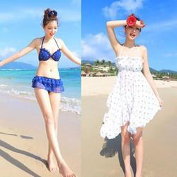 Bikini quần váy xèo kèm đầm maxi cực đẹp mặc đi biển