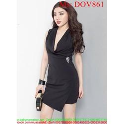 Đầm ôm sát nách dạng cổ vest sang trọng và thanh lịch DOV861