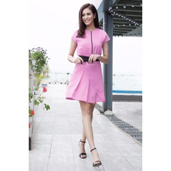 Đầm hồng thiết kế váy xếp ly D529