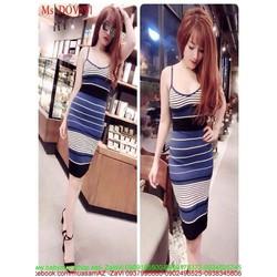 Đầm body 2 dây xinh đẹp xẻ sọc ngang màu sành điệu DOV891