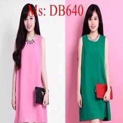Đầm bầu sát nách thiết kế đơn giản màu trơn đẹp DB640