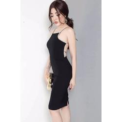 Đầm ôm body đen sexy hở lưng D521
