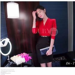 Set đầm thiết kế áo somi cổ V phối chân váy cao cấp Hàn Quốc TV955