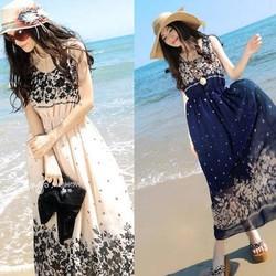 Đầm maxi đẹp có lá chấm bi gợi cảm mặc đi biển