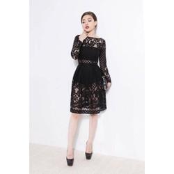 Đầm xòe đen đẹp với chất liệu ren cao cấp tinh tế M994D