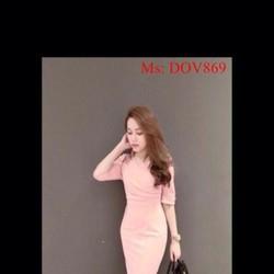Đầm ôm dài tay thiết kế đơn giản màu hồng dễ thương DOV869