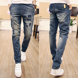Quần jeans nam ống côn skinny vá đùi nam tính