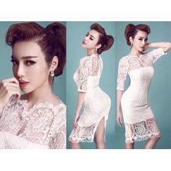 Đầm ren trắng dự tiệc thiết kế ôm body tay lỡ tuyệt đẹp M0009D