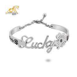 Vòng tay inox nữ chữ Lucky - vòng tay inox đẹp giá rẻ