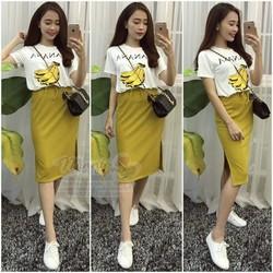 hàng nhập - set áo và chân váy banana y hình